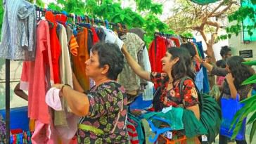 In Hyderabad, participate in the clothes swap party to promote sustainable consumption. Photo Source.