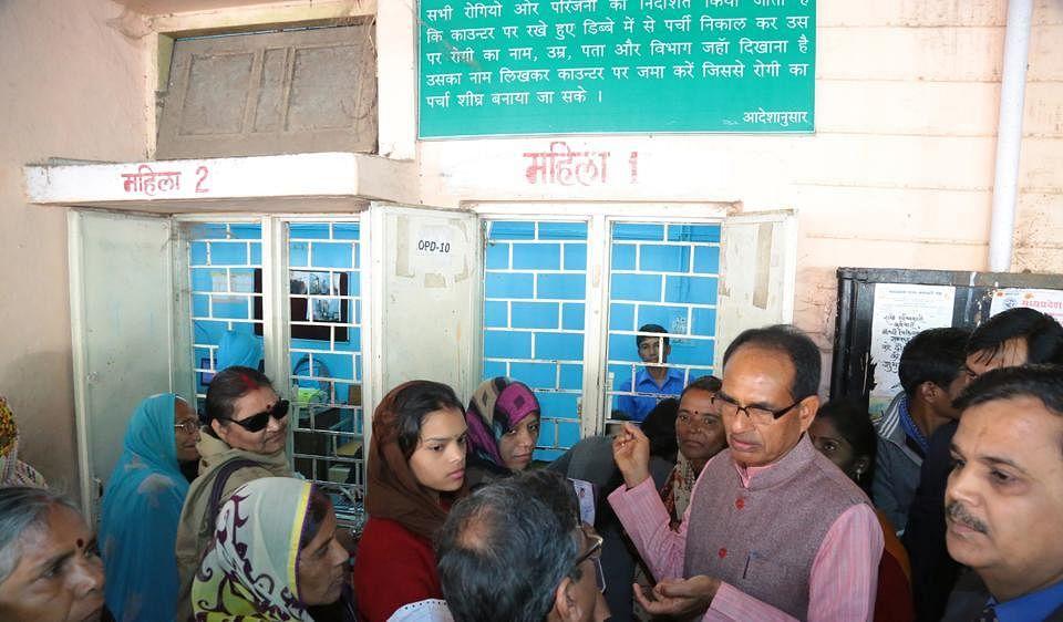 Madhya Pradesh Chief Minister Shivraj Singh Chouhan at a local government hospital pharmacy. (Source: MP govt)