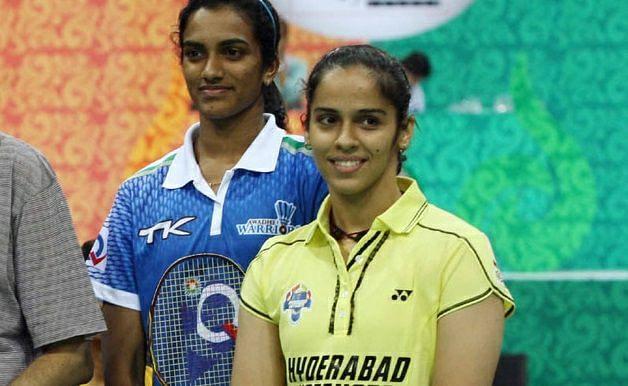 Saina Nehwal (in yellow) with PV Sindhu (Source: Facebook/Olympics India at Tokyo 2020)