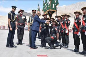 President Ram Nath Kovind presenting the Ladakh Scouts regiment with the President's Colours—an honour reserved for those units that distinguish themselves over decades. (Source: Facebook)
