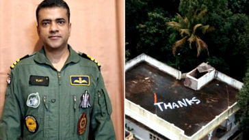Saved thanks to the timely evacuation by Naval Commander Vijay Varma, the woman left a 'Thank You' note on her terrace. Image Credit: Barkha Dutt