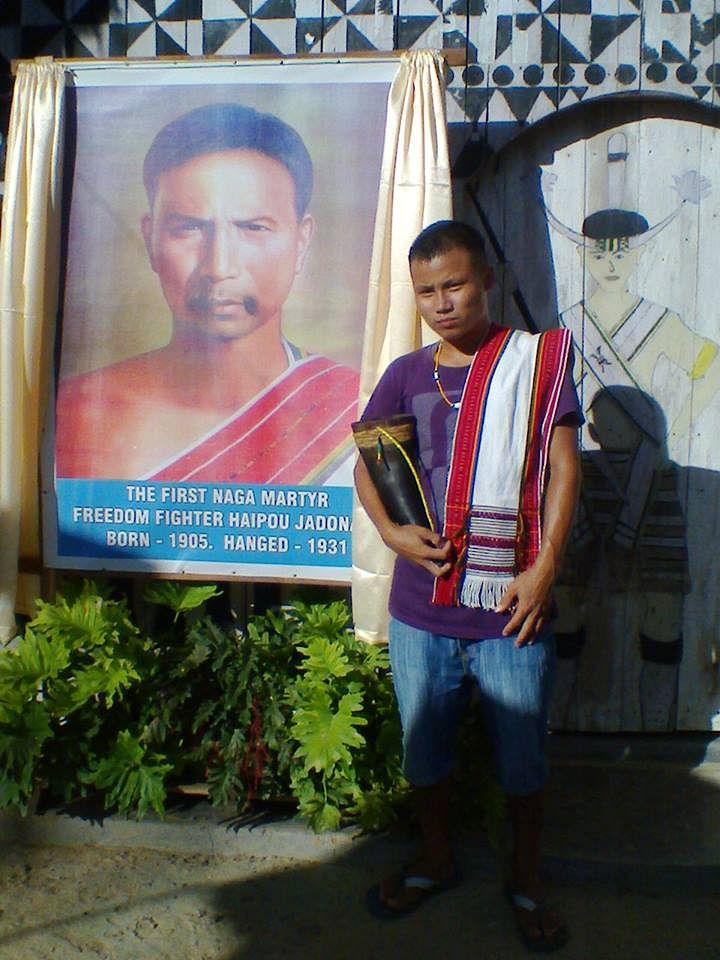 Standing next to a portrait of Haipou Jaidonang (Source: Chai'z Zeliangrong)