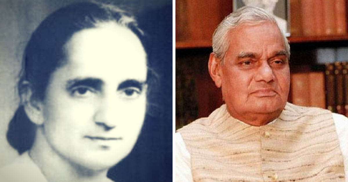 Subhadra Joshi (Left) and Atal Bihari Vajpayee (Right) (Source: Veethi/Twitter)