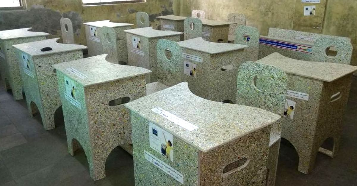 """The Mumbai school has procured furniture made out of recycled cartons. Image Credit: <a href=""""https://www.facebook.com/GOGREENwithTetraPakRecycling/photos/a.423984791095720/1117908561703336/?type=3&theater"""">Go Green with Tetra Pak.</a>"""