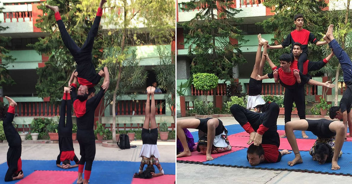 The Delhi-based group of visually challenged children performs stunning acrobatic yoga. Image Credit; Yoga Artists