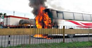 The Karnataka KSRTC Bus caught fire, and the passengers were rescued thanks to the driver. Image Credit: Sanatan Das