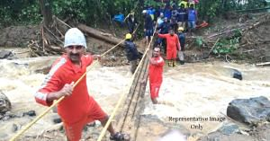 The NDRF carried out a risky rescue operation for a 2-month old in Kodagu. Representative Image Only. Image Credit: CM of Karnataka (Twitter)