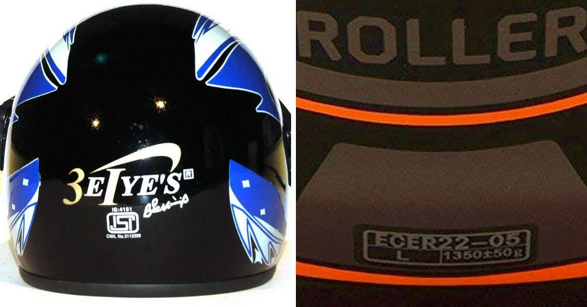 The helmets have been standardised according to various safety protocols, like the ISI (left) and ECE (right) ratings. Photo Credits: SBS Nagar Police (left), Amazon (right)