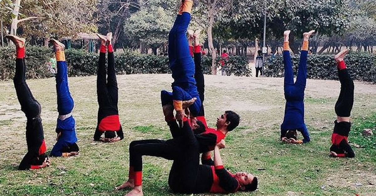 The visually-challenged children in Delhi's Blind Yoga Artists group. Image Credit: Yoga Artists