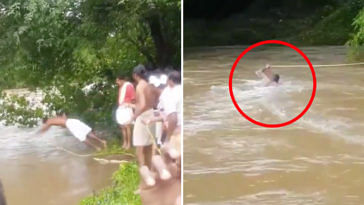 #KeralaFloods: Man Dives Into River, Risks Life To Set Up Crucial Supply Line!