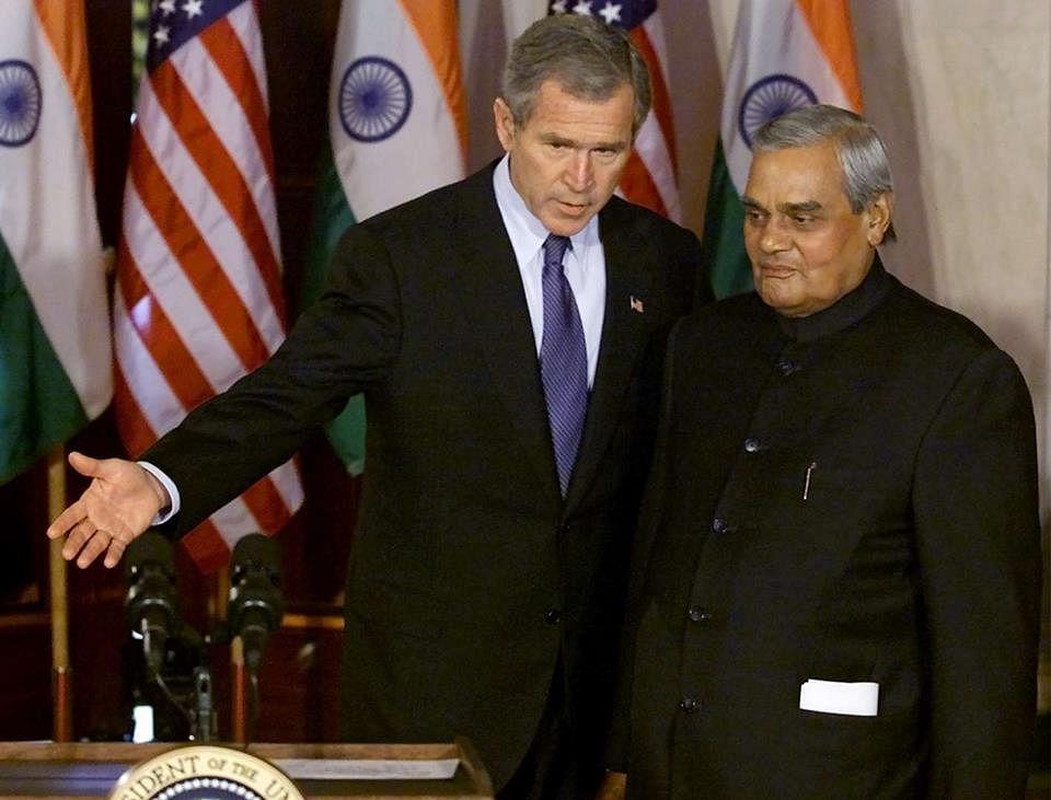 Prime Mnister Vajpayee with former US President George W Bush. (Source: Facebook/Vijjibabu Javvadi)