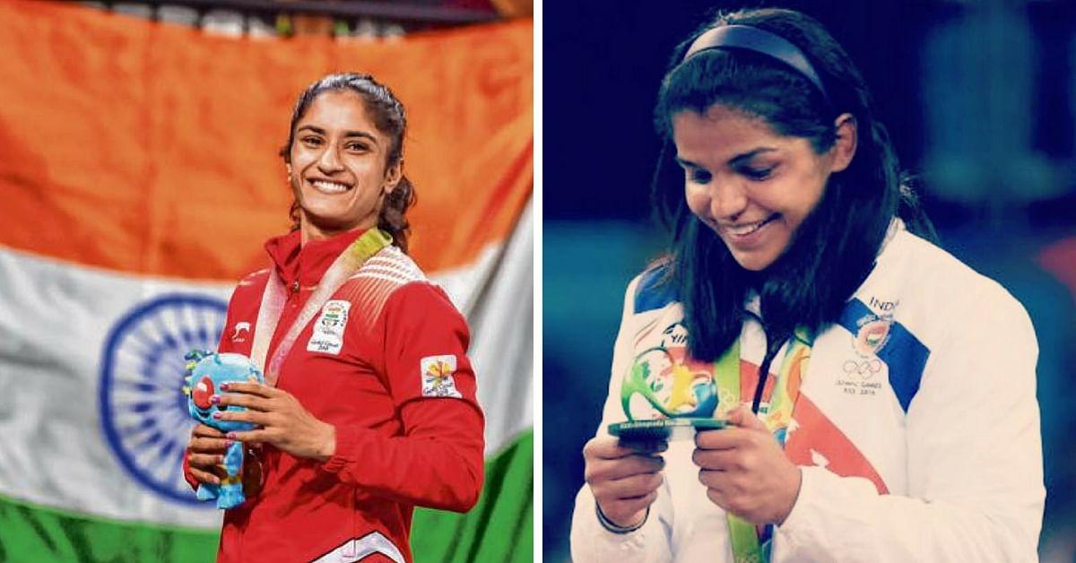 Vinesha Phogat (left) and Sakshi Malik. (Source: Facebook/Vinesha Phogat/Sakshi Malik)