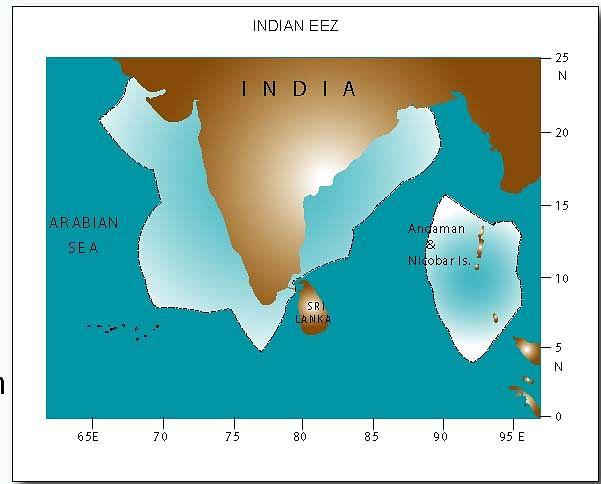 The Exclusive Economic Zones of India.