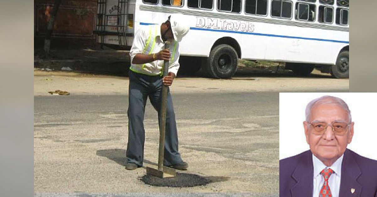 Pothole roads being fixed with khandal method