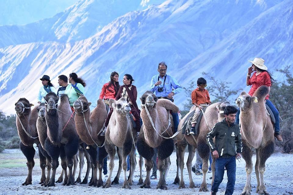 Tourists on their camel safari. (Source: Facebook/Udaya Rita Lokre)