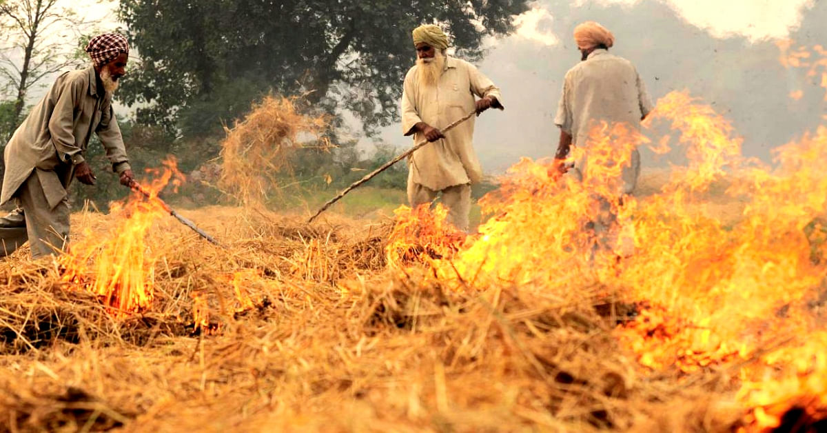 Farmers burning crop stubble. (Source: Wikimedia Commons)
