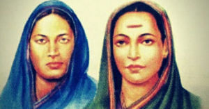 Fatima Sheikh (left) and Savitribai Phule. (Source: Twitter/Tanvir Salim)