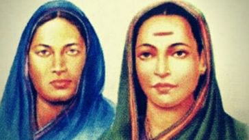 Fatima Sheikh (left) and Savitribai Phule. (Source: Twitter/Tanvir Salim)