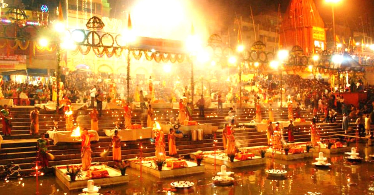 The awe-inspiring Ganga aarti ceremony, held in Varanasi, India. Image Credit:- Streetwise Varanasi Tours