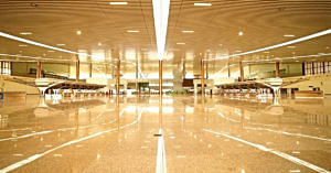 The beautiful interiors of the Kannur airport. Image Credit: Kodagu Connect, image by Rafeeque