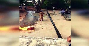 Watch: Uttar Pradesh cop drags blazing cylinder to pond, averts major tragedy