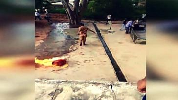 Watch: Uttar Pradesh cop drags blazing cylinder to pond, averts major tragedy