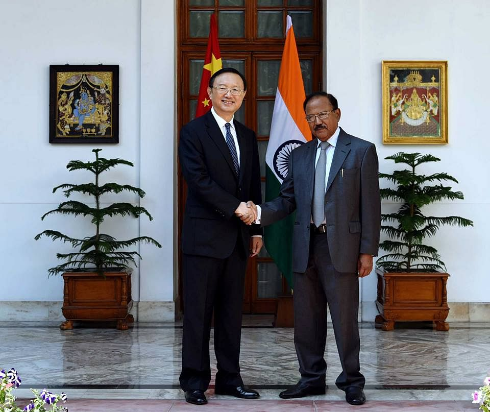 NSA Ajit Doval with a senior Chinese official during a recent visit. (Source: PIB)