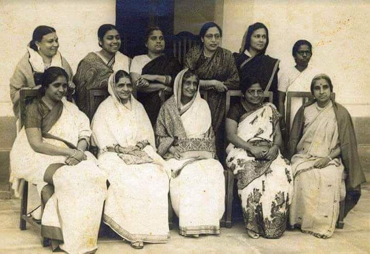 (Standing Left to Right) Ammu Swaminathan (Kerala), Begum Aizaz Rasul (U.P.), Durgabai Deshmukh(A.P.), Hansa Jivraj Mehta (Gujrat), Kamla Chaudhary (U.P.), Leela Roy ( Assam), Malati Choudhury (East Bengal, now Bangladesh),Purnima Banerjee(U.P), Rajkumari Amrit Kaur(U.P), Renuka Ray (Bengal), Sarojini Naidu (A.P.), Sucheta Kriplani (Hariyana), Vijalakshami Pandit (U.P), Annie Mascarene (Kerala). These women were members of the Constituent Assembly. (Source: Facebook/Kerala Prime Media)