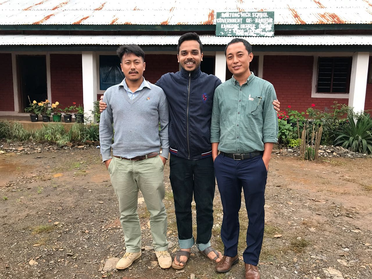 Mathanmi Hungyo, Director of RREA (Extreme Left) with Raghwendra Singh (middle).