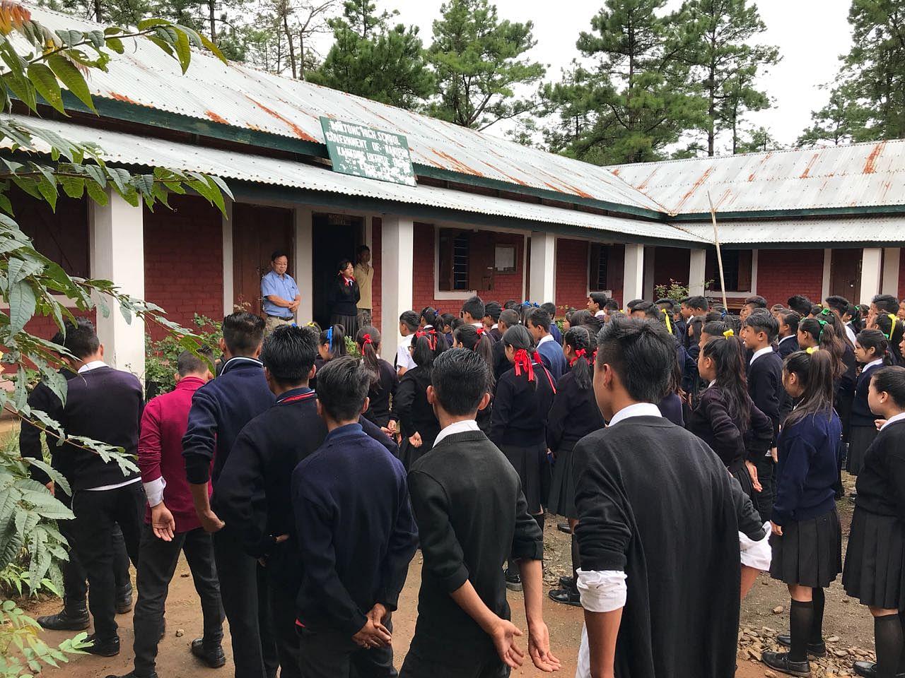 Morning Assembly at Kamjong High School.