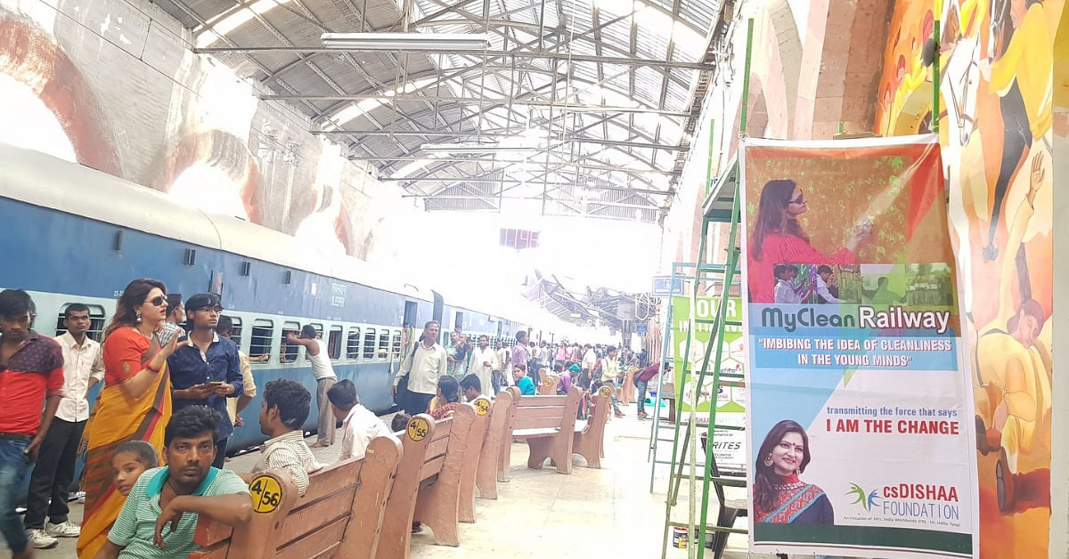 The beautiful Ghaziabad railway junction with paintings on the walls. Image Credit: csDishaa