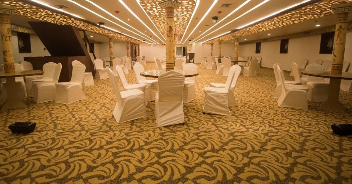 The dining hall, in Kerala's luxury cruise ship, Nefertiti. Image Credit: CMO Kerala