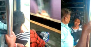 The girl who almost died on the Mumbai local train. Image Credit: Screen grab from video.