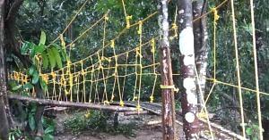 The hanging bridge, that Karnataka's Balakrishna built for his village. Chandrashekhar Shetty