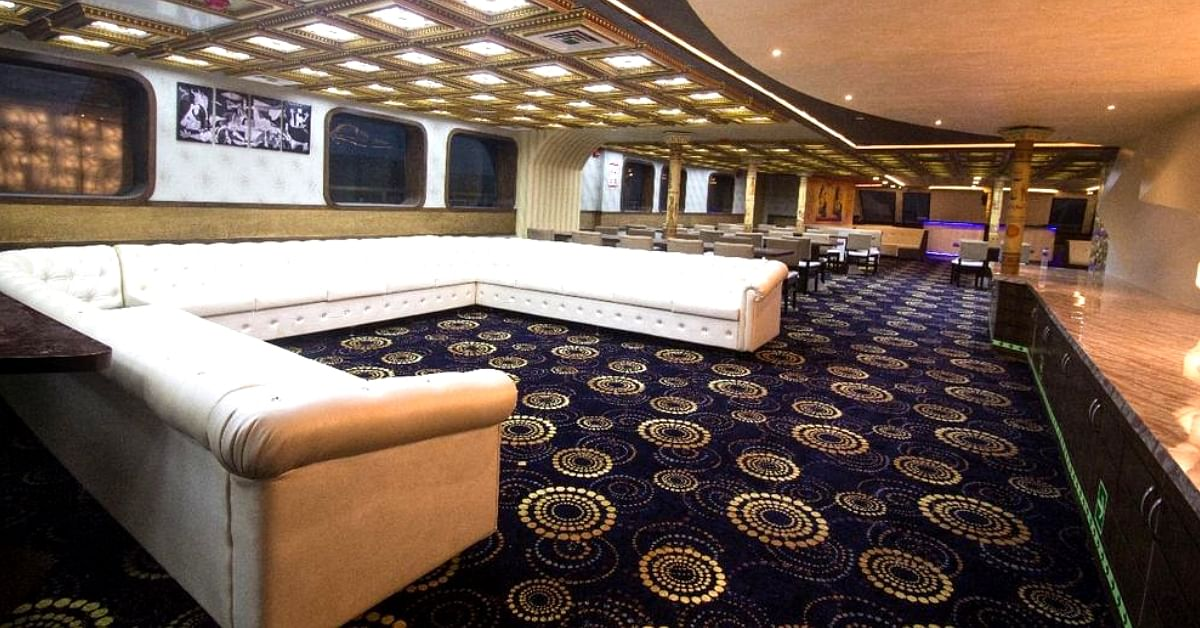 The interiors of Kerala's luxury cruise ship, Nefertiti. Image Credit: CMO Kerala