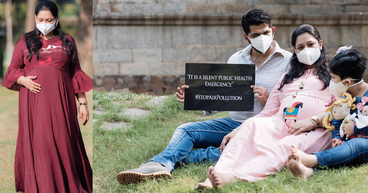 With Unique Maternity Pics, Delhi Mom-To-Be Makes Moving Appeal To Fight Air Pollution!