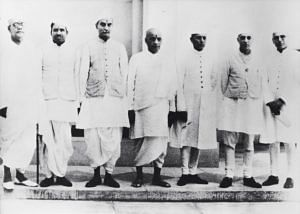 Sardar Patel with fellow members of the Interim Government. (Source: Twitter)
