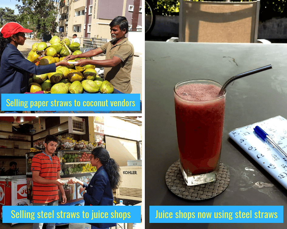 Team Eco Straws in action to ban single-use plastic straws in Bangalore.