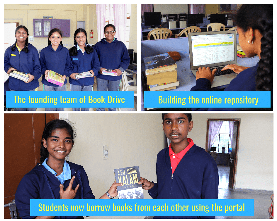 Photo collage of Class VIII students from Army Public School (Kamaraj Road), Bangalore launching their initiative 'Book Drive'.