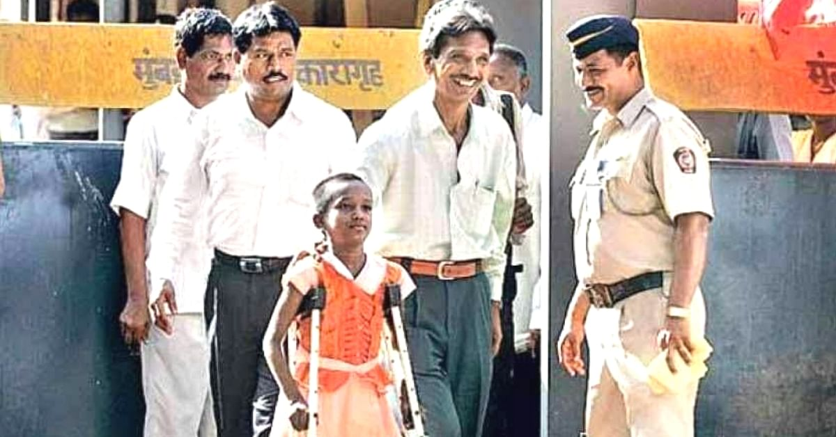 A young Devika Rotawan on crutches walking with her father to court. (Source: Devika Rotawan)