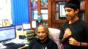 15-year-old Gautam Dayal with Prof. T.V. Ramachandra. (Source: Save Bellandur Lake)