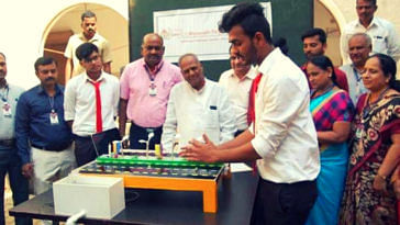 Students from the civil engineering department of KLE Society's C I Munavalli Polytechnic College in Hubballi have come up with a way to generate electricity from moving vehicles. (Source: Facebook)