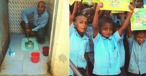 Mahadeshwara Swamy cleaning the school toilet (Left). Representational image of Karnataka government primary schools. (Source)