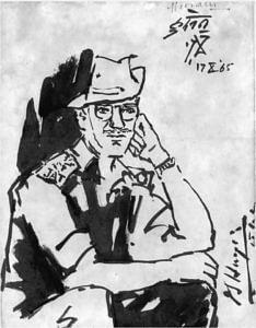 MF Hussain's portrait of Lt Col Desmond Hayde. (Source: Facebook/Indian Army)