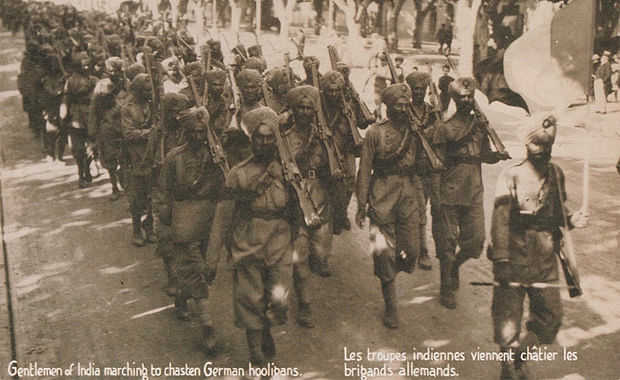 15th Ludhiana Sikhs soldiers marching somewhere in France. (Source: WESTMINSTER SCHOOL AND THE FIRST WORLD WAR)