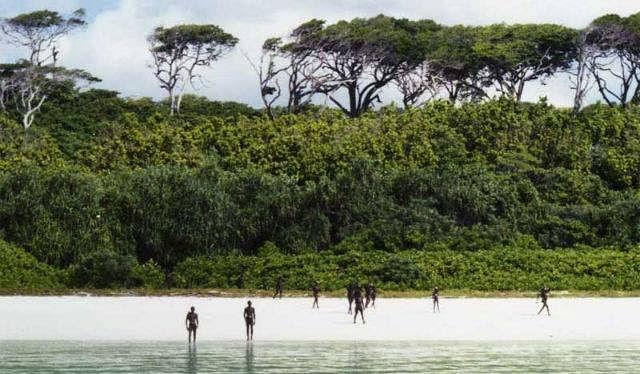Sentinelese islanders standing at a distance. (Source: Facebook/Andaman & Nicobar Islands)