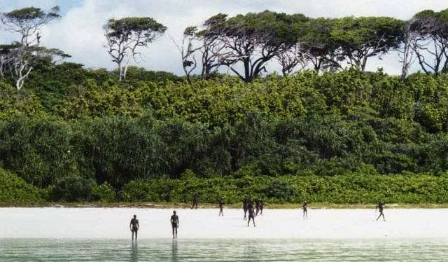 Sentinelese islanders on the shore standing at a distance. (Source: Facebook/Andaman & Nicobar Islands)