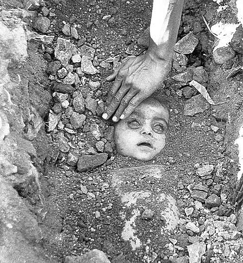 The iconic photo which captured the horrors of the Bhopal Gas Tragedy.