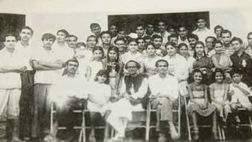 September 1960: A photo of the 1960 peace mission led by Hemango Biswas and Bhupen Hazarika, alongside locals after a performance. (Source: Facebook/Dhruba Hojai/Rongili Biswas)