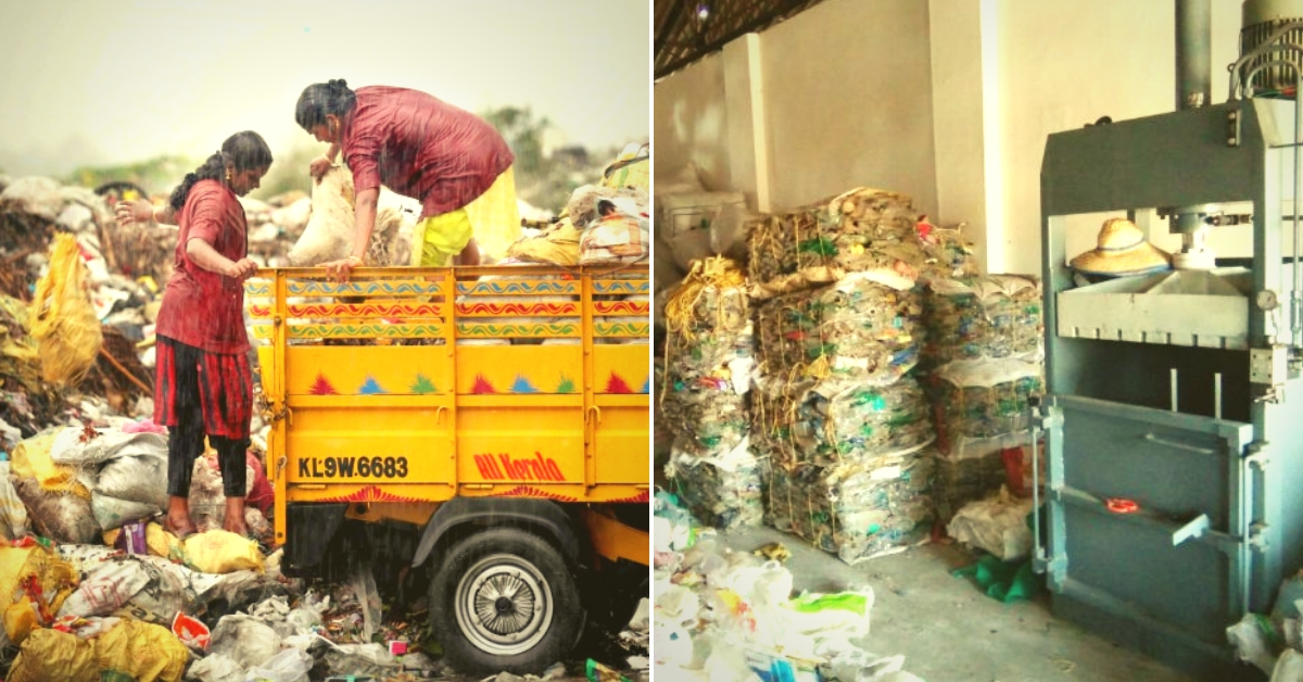 For representational purposes. On the left you have Kudumbasree workers collecting plastic waste. On the right you have a plastic waste processing unit. (Source: Kerala government/Facebook)